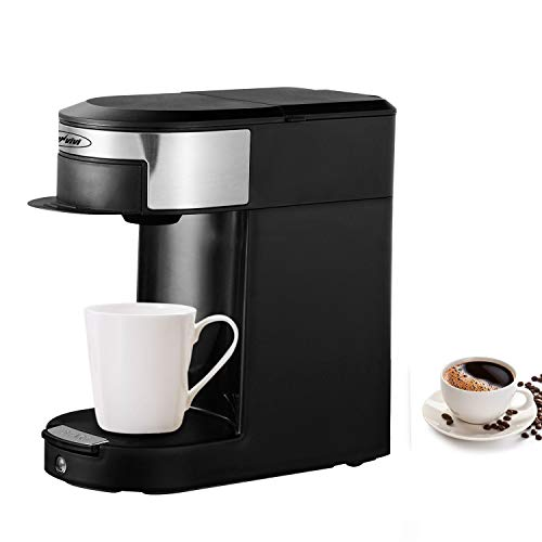 Sunvivi AC120V 60HZ 500W Single Serve Coffee Pod Brewer, 1 Cup Hospitality Coffeemaker,One-touch Control Button with Illumination ,Black/Silver