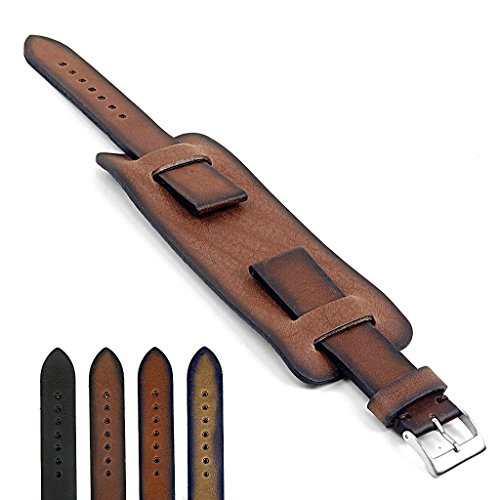 DASSARI Gauntlet Hand Finished Vintage Style Italian Leather Cuff Watch Strap in Brown 18mm (Italian Vintage Style)