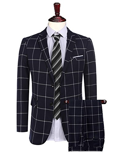Coofandys Men's 2 Piece Plaid Suit Set Slim Fit Single breasted Blazer Jacket Tuxedeos & Pants,X Large,Blue (Breasted Sport Coat Single)