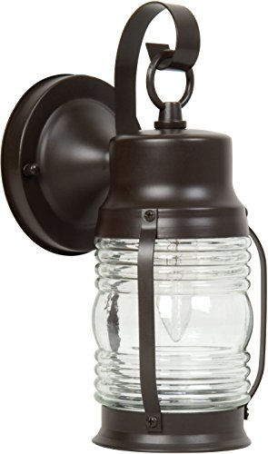 Exteriors Z112-7 Nautical 1 Light Wall Mount Light Fixture with Clear Glass, Small, Burnished Copper