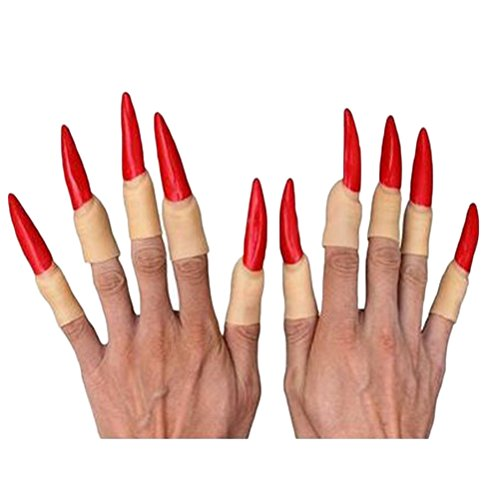 Genluna Halloween props fake finger nails witch ghost nail Red (Halloween Witch Nails)