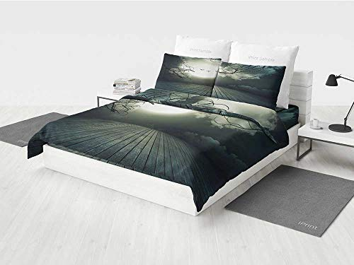 Halloween Construction Bedding Set Wooden Planks Floor with Leafless Branches and Blurred Full Moon Mysterious Decorative Printing Four Pieces of Bedding Set Black Grey White -