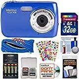 Vivitar ViviCam S126 Digital Camera (Blue) with 32GB Card + Batteries & Charger + Case + Kids Stickers Kit