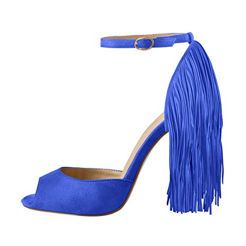 Onlymaker Women's Fringe Decoration Peep Toe High Heel Sandal Ankle Buckle Big Size for Party Royal Blue 8 M US