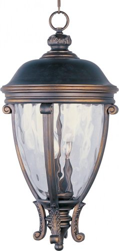 Maxim Lighting 41429WGGO Three Light Water Glass Hanging Lantern, Golden (Camden Vx 3 Light)