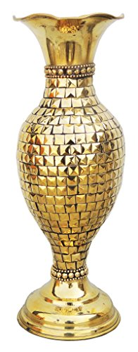 Brass Gift Center Brass Flower vase Studded with Brass Beads Brass Vase (11.3 inch, Yellow) ()