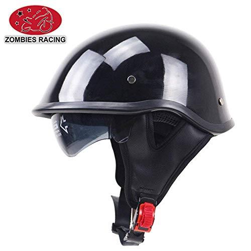 Legal Street Leather (Shfmx Motorcycle Anti-Collision Retro Harley Half Helmet, DOT Certified Scooter Pilot Jet Half Half face Helmet with Sun Visor,L)