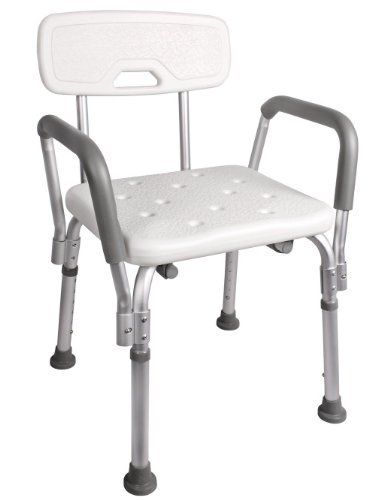 TMS® Adjustable Medical Shower Chair Bathtub Bench Bath Seat Stool Armrest Back White