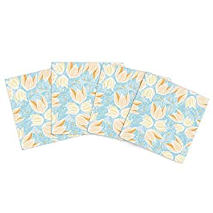 """Kess InHouse Anchobee """"Giallo"""" Outdoor Place Mat, 15 by 15-Inch, Set of 4"""