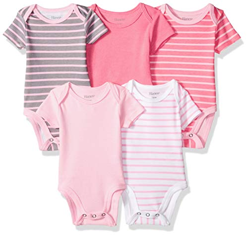 Hanes Ultimate Baby Flexy 5 Pack Short Sleeve Bodysuits, Pink Stripe, 18-24 -