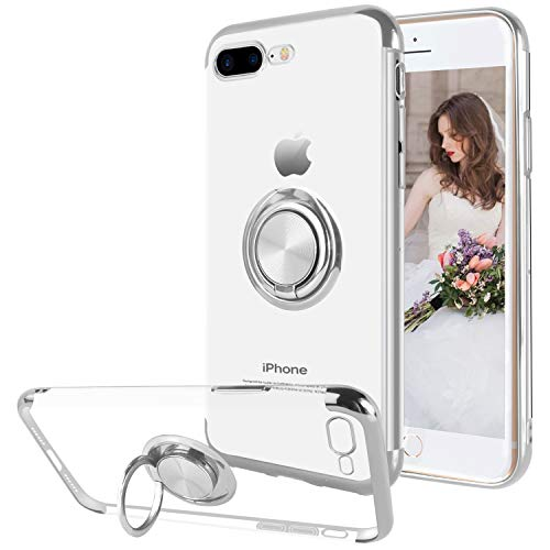 Ownest Compatible with iPhone 7 Plus/iPhone 8 Plus Case with Built-in 360 Rotatable Ring Kickstand Fit Magnetic Car Mount and Clear Soft Transparent Silm TPU for iPhone 7 Plus/8 Plus-Silver