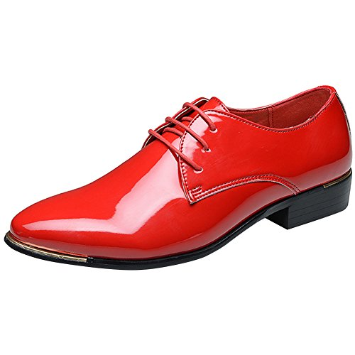 wealsex Scarpe Uomo Pelle Derby Basse Oxford Business Scarpe di Cuoio Rosso