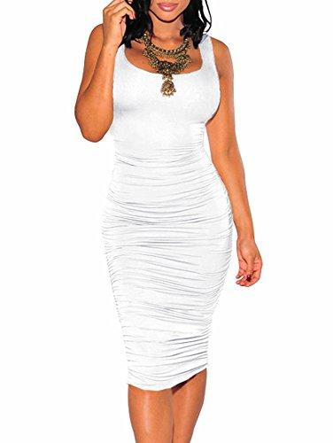 BEAGIMEG Women's Sexy Ruched Bodycon Casual Solid Sleeveless Tank Midi Dress White