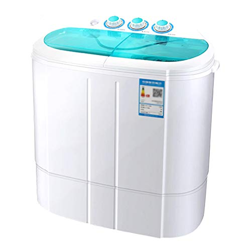 Mini Twin Tub Washing Machine – Portable & Compact Washer Spin Dryer, Gravity Drain, Separate Timer for Easily Operate, Space Saving for Apartment, Hotel, Home