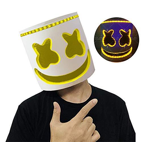 Uhoolee Top 10 DJs Marshmello Helmet, Helmet Music Festival Marshmallow Head Mask Novelty Costume Bar Full Head Mask Cosplay Costume Carnaval Halloween (Yellow)
