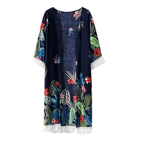aihihe Cardigans for Women 3/4 Sleeve Floral Print Boho Chiffon Casual Loose Kimono Summer Beaxh Blouse Tops (010,Free Size)