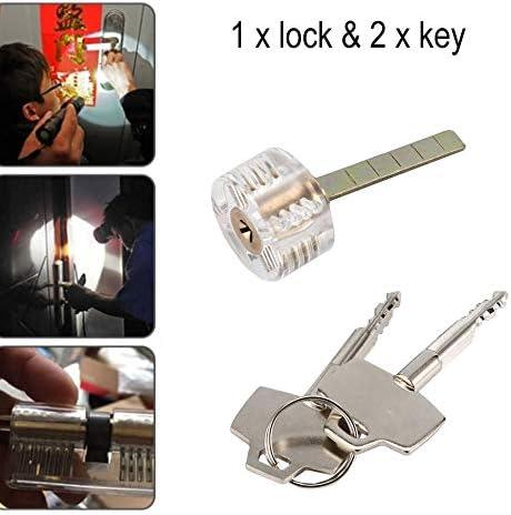 ClookYuan Transparent Cutaway Practice Lock Kreuzschl/üssel Schl/össer f/ür T/ür Schubladenschrank Pick Set Training Geschicklichkeit f/ür Schlosser Praxis