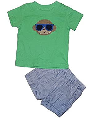Carter's Monkey 2 Piece Little Baby Boys Top & Shorts Outfit Set