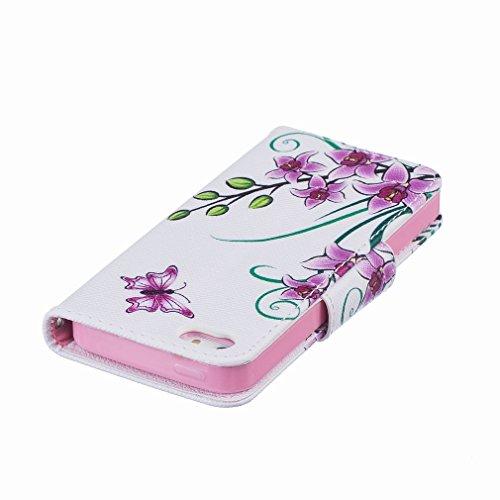 Cover iPhone 5s SE Custodia, Ougger Floral Portafoglio Card Slot PU Pelle Magnetico Stand Silicone Flip Bumper Protettivo Cover Case Custodia per Apple iPhone 5s / iPhone SE
