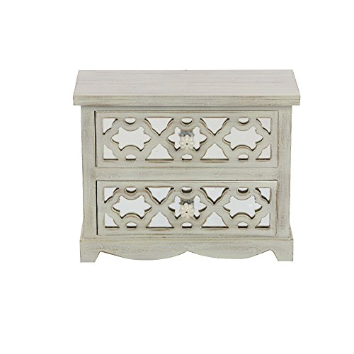 Benzara 2 Drawer Kaya Wood Mirror Jewelry Chest