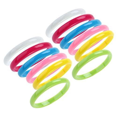 NUOBESTY Plastic Bangle Bracelets Candy Color Bracelet Party Favors Pack for Birthday Party 12pcs (Random Color)