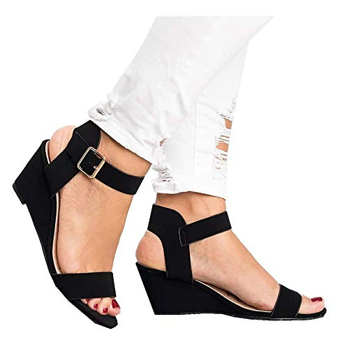 (Women's Summer Ankle Strap Buckle Low Wedge Platform Heel Sandals Fashion Design Pump Shoes (US:5.5, Black))