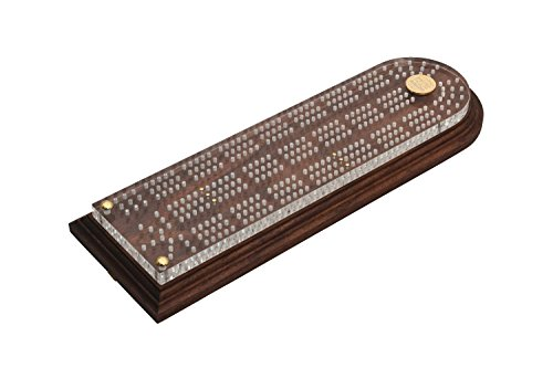 Christian Martin Deluxe Cribbage Board-Solid American Black Walnut with Clear Acrylic Top, 3 Tracks, 6 Pegs Included