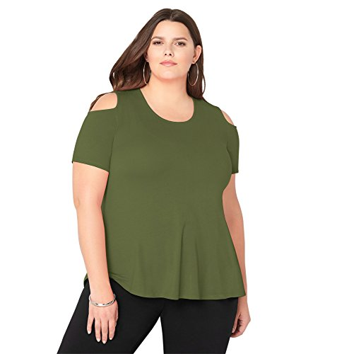 AVENUE Women's Cold Shoulder Tee, 26/28 Olive