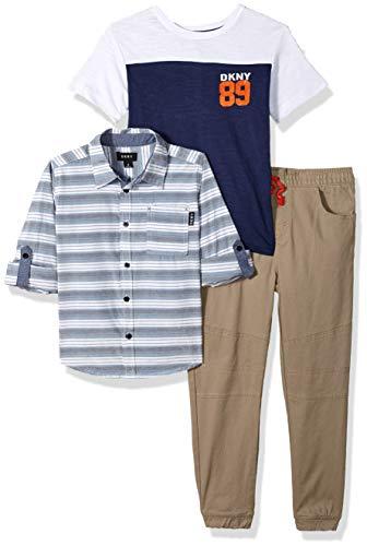 DKNY Boys' Little Manhattan Sport, T-Shirt and Jog Pant, Khaki, 4 ()