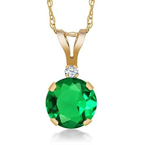 0.79 Ct Green Simulated Emerald White Created Sapphire 14K Yellow Gold (Yellow Gold Emerald Pendant)