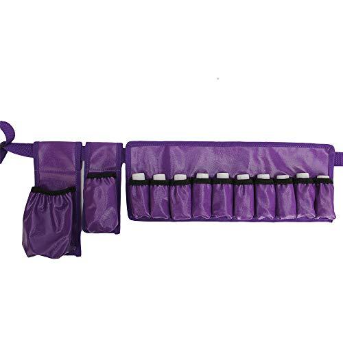 (Adjustable Massage Oil/Lotion Holster Carrier Oil essential oil bottle belt massage belt(holds 1pc 8oz,1pc 115ml, 10 vials) ... (purple(waterproof)))