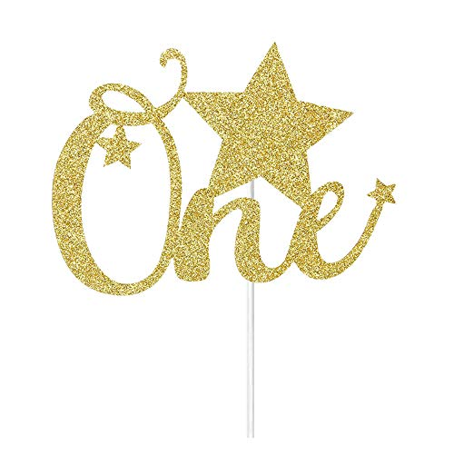 Gold Glitter One Cake Topper- Baby's First Birthday Cake Toppers - Baby Shower Party Decorations Supplies - The First Anniversary Party Cake Toppers (First Birthday Cake Topper Gold)
