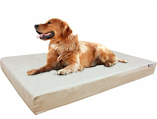 Dogbed4less XL Orthopedic Gel Infused Cooling Memory Foam Dog Bed for Medium to Large Pet and Waterproof Liner in Mirco-Suede Khaki External Cover, 47X29X4 Inches by Dogbed4less