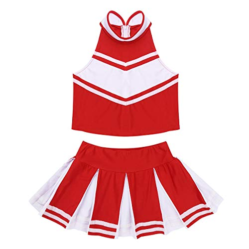 Agoky Youth Girls Cheer Leader Costume School Uniform Outfit Carnival Party Halloween Cosplay Top with Pleated Skirt Socks Red&White Cheerleader 9-10 ()