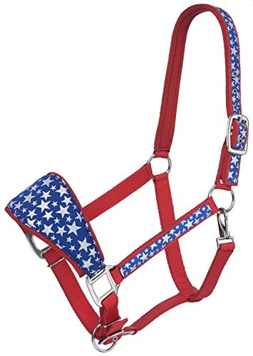 - Tough 1 Padded Bronc Nose Halter with Star Print, Red,