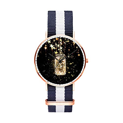 Unique Wrist Watch, Jar of Hearts Personalized Oxford Creative Multicolor Watch Strap Modern Watch,Unisex Minimalist Stainless Steel Ultra Thin Stripe Fashion Watches for Men 40mm -