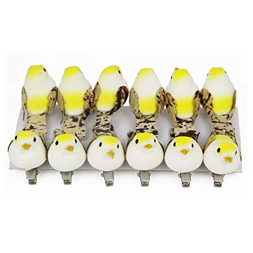 Feather Ornaments Christmas (lwingflyer 12pcs Artificial Simulation Foam Bird Feather Mini Cute Birds Ornaments DIY Craft for Christmas Tree Wedding Decoration Home Garden Party Accessories Metal Clip 5.2cm/2.04inch (Yellow))