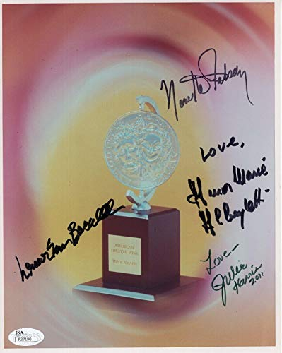 - TONY AWARD HAND SIGNED 8x10 PHOTO ALBERGHETTI+LAUREN BACALL+HARRIS+FABRAY - JSA Certified