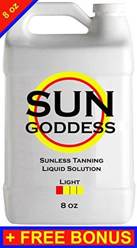 Sun Goddess - LIGHT - 8 oz - Sunless Self Tanning liquid Solution / Spray Tan Solution + FREE BONUS: Sunless Self Spray Tanning Applicator Mitt & Gloves + 1 Sunless Self Tanning Lotion Tanner Sample