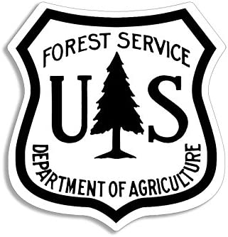 2.5 inch US Forest Service Shield Stickers Set Hike Logo Forestry American Vinyl 4-Pack 4 Colors