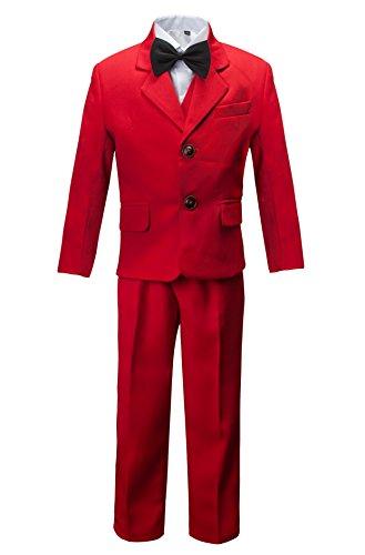 Gele Boy 5 Pieces Formal Dress Suit Set,Slim Fit Tuxedo Set (8, (Red Tuxedo Costumes)