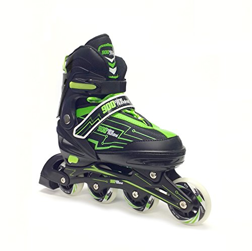 Adjustable Rollerblades (7M - 9M) for kids women men adult boys girls-Inline roller Skate black-pink or black-green. Fitness performance Inline blades skates. Patines/Rollers para hombre o mujer. by Nine Hundred