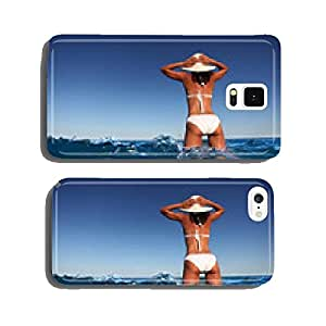 Young woman enjoying summer rest at the seaside. cell phone cover case Samsung S6