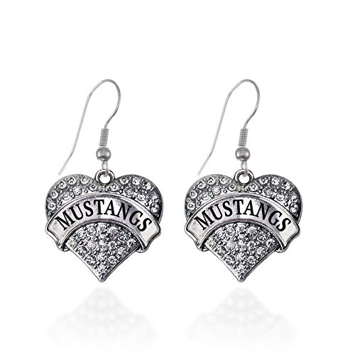 Mustang Charm - Inspired Silver - Mustangs Charm Earrings for Women - Silver Pave Heart Charm French Hook Drop Earrings with Cubic Zirconia Jewelry