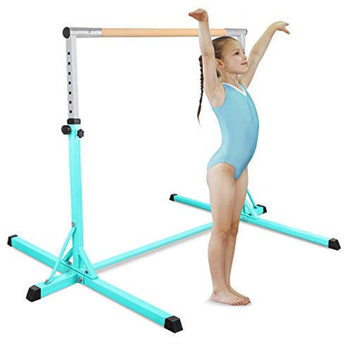 FBSPORT Gymnastics Trainning Kip Bar Expandable Horizontal Bar Adjustable Height Fitness Equipment for Home/Floor/Practice/Gymnastics/Tumbling/Parkour (LightGreen)