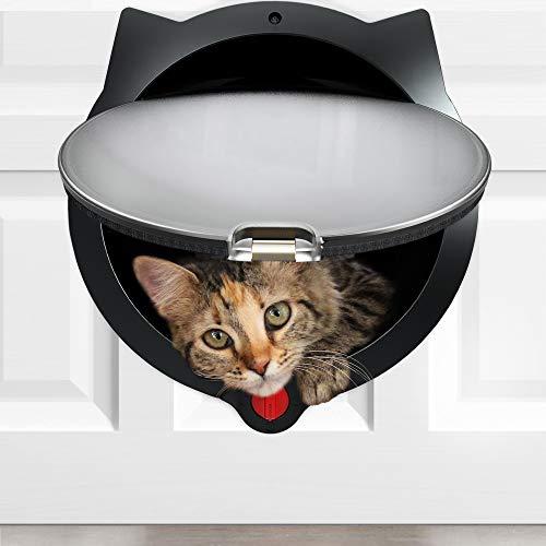 LYNX Cat Door for Pets - 4 Way Locking Cat Flap - for Interior Doors & Exterior Doors, Wall or Hidden Cat Litter Box - Easy & Quick Installation - Kitty Training Tips Included (Black)