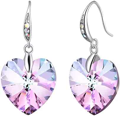 e9a13fdfa ❤Crystals from Swarovski❤ Heart Earrings Color Changing Crystals Eternal  Love Heart Drop Dangle Earrings