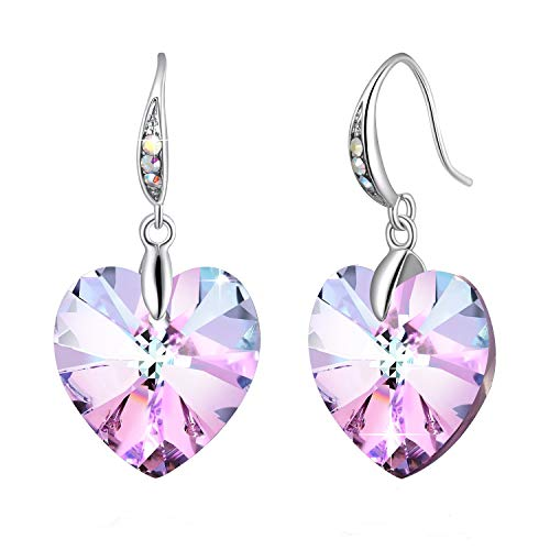 Swarovski Element Earrings Heart Earrings Color Changing Crystals Forever Love Drop Dangle Earrings for Girl, Birthday Birthstone Jewelry Gifts for Women, Amethyst Purple Pink ()