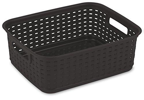 Sterilite Decorative Wicker-Style Short Weave Basket, Espres