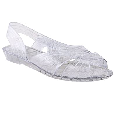 new womens sling back jelly sandals flat shoes open